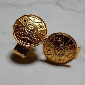 ヴィンテージ CHANEL シャネル ココマーク 18mm タイプ2 ゴールドデザイン ボタン イヤリングパーツのおまけ付 (c-4)