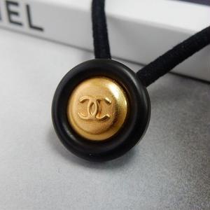 ヴィンテージ CHANEL シャネル ボタン ココマーク 16mm タイプ10 ブラック×ゴールド ヘアゴムのおまけ付(c-101)