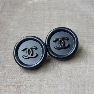ヴィンテージ CHANEL シャネル ココマーク 17mm ネイビー×ブラックボタン イヤリングパーツのおまけ付(c-28)