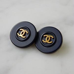 ヴィンテージ CHANEL シャネル ココマーク 18mm タイプ2 ネイビー×ゴールドボタン イヤリングパーツのおまけ付(c-19)