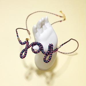 [限定色]Japanese silk cord necklace くみひもネックレス/joy・ブラック×深緑×ピンク