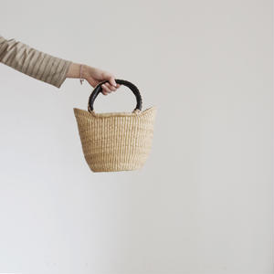BBB-001  Straw Basket Ghana - small / NATURAL