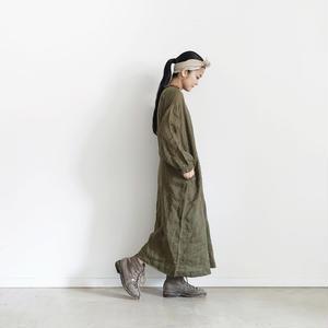18-0038  硫化染め Linen Frill Dress / KHAKI