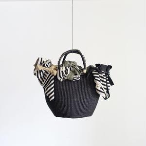 BBB-003  Straw Basket Ghana - large / BLACK