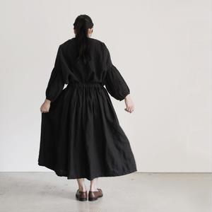 17-0006 AZUMADAKI Linen Skirt / BLACK