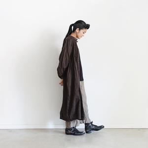 18-0035  硫化染め Linen Lase Dress / BROWN