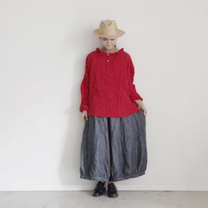 17-0024 Linen Frill Pullover / RED