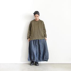 18-0037  硫化染め Linen Frill Pullover / KHAKI