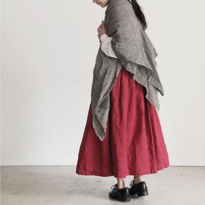17-0006 AZUMADAKI Linen Skirt / RED