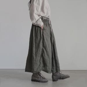 17-0003  Linen Skirt / KHAKI