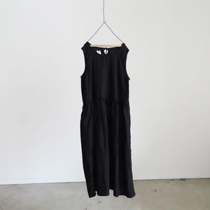 17-0005 AZUMADAKI Linen Dress / BLACK