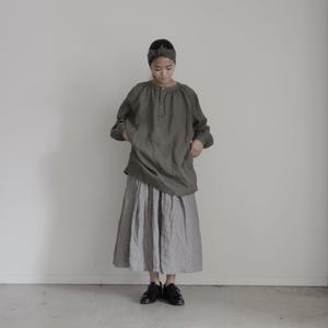 17-0017 Linen Henley Pullover / KHAKI