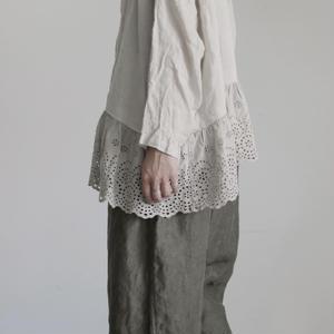17-0002 Linen Lase Pullover / BEIGE