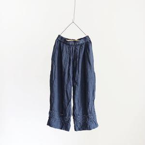 18-0034  硫化染め Linen Lase Pants / NAVY
