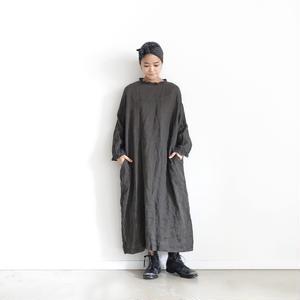 18-0038  硫化染め Linen Frill Dress / CHARCOAL