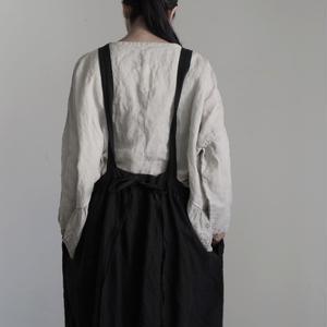 17-0016 Linen Canvas Apron Dress  /  BLACK