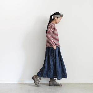 18-0036  硫化染め Linen Lase Skirt / NAVY