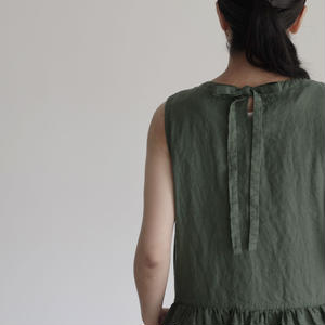 17-0005 AZUMADAKI Linen Dress / GREEN