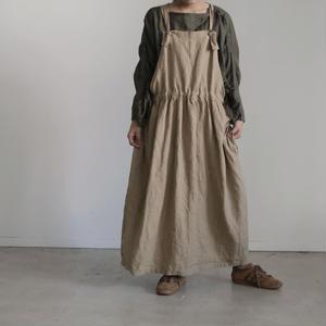 17-0016 Linen Canvas Apron Dress  /  BEIGE