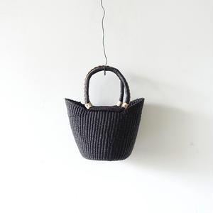 BBB-001  Straw Basket Ghana - small / BLACK
