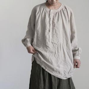 17-0017 Linen Henley Pullover / NATURAL