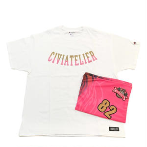 "Civiatelier  ""HAPPINETS"" Model Complete Pack  T-shirts&Clutch Bag 【WHITE×PINK XL】"
