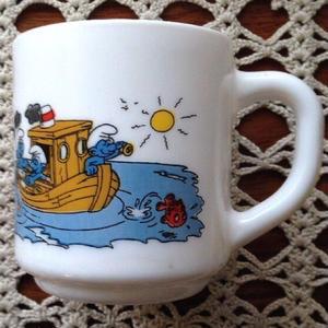 Vintage・Smurf Milkglass Mug '1985 TypeB
