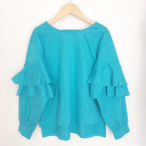 open back tiered sleeve top BLUE