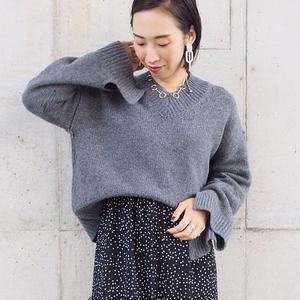 design sleeve V neck sweater GRAY