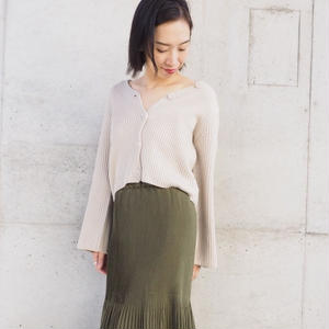 soft-feel knit cardigan with button BEIGE
