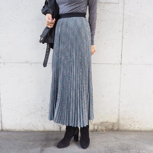 checked pleated long skirt
