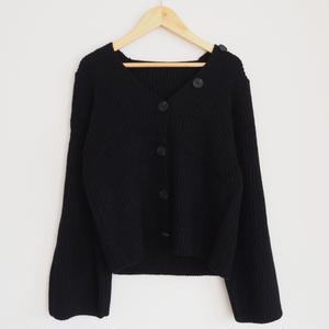 soft-feel knit cardigan with button BLACK