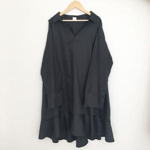 cotton ruffle dress NAVY