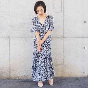 dark navy  flower print  dress