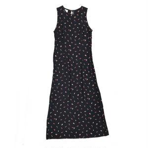 For Ladies /  N/S Flower Print Rayon Maxi Dress  / Black /  Used