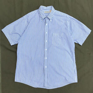 Made in USA / L.L.Bean / S/S B.D.Striped Shirt / White×Blue / Used