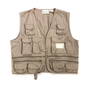 90s Cotton Fishing Vest / beige /  Used