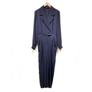 OLD  BIG LAPEL JUMP SUITS / NAVY