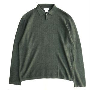 Used BARNEYS NEWYORK / L/S Cotton Herringbone Polo Shirts / Olive