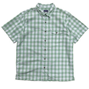 Used Patagonia / S/S Check Shirt / Lt Green Check