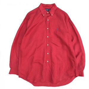OLD  Ralph Lauren / Silk B.D.Shirt  / Red