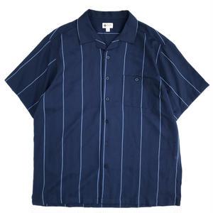 Used S/S Open Collar Stripe Shirt / Navy Stripe