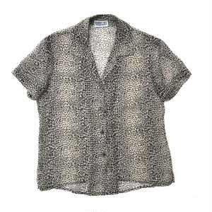 For Ladies / Used Leopard Open Collar Shirt / Beige