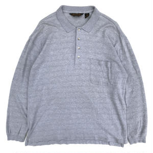 Made in USA Old Eddie Bauer / L/S Polo Shirt / Gray