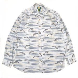 Cabela's / L/S B.D. Fish Pattern Shirt / Natural / Used