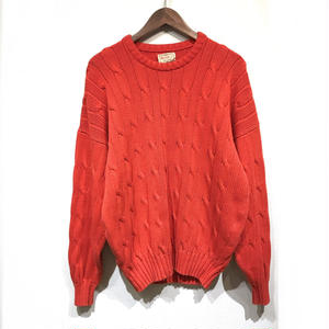 Made in England / Old Drop Shoulder Cotton Knit Sweater / Orange