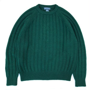90s Cotton Crew-neck Knit / Green / USED