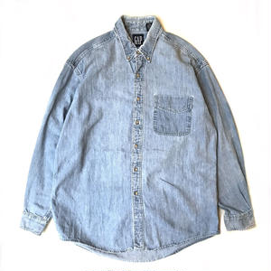 Made in USA / 90s GAP / Cotton Denim Shirt / Indigo / Used