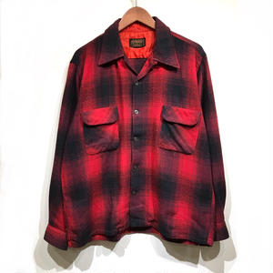 Used Shadow Check Wool Open Collar Shirt  / Red ×Black