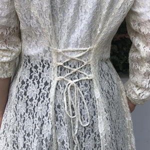 Made in USA / 80s Lace Gown Dress / Natural